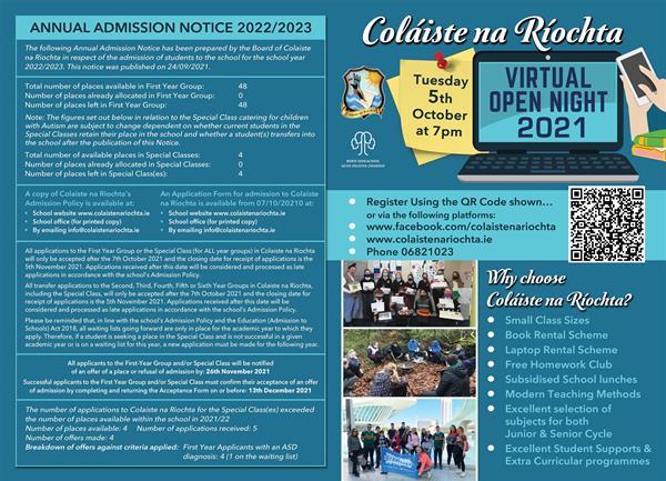 Admissions Notice 2022